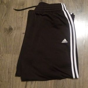 Mens Adidas Black Sweat Track Pant White Stripe XL
